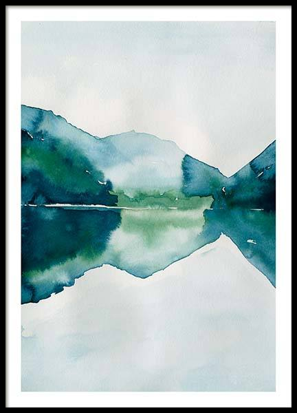 Watercolor Mountain Reflection Poster no grupo Posters  / Arte em Desenio AB (10123)