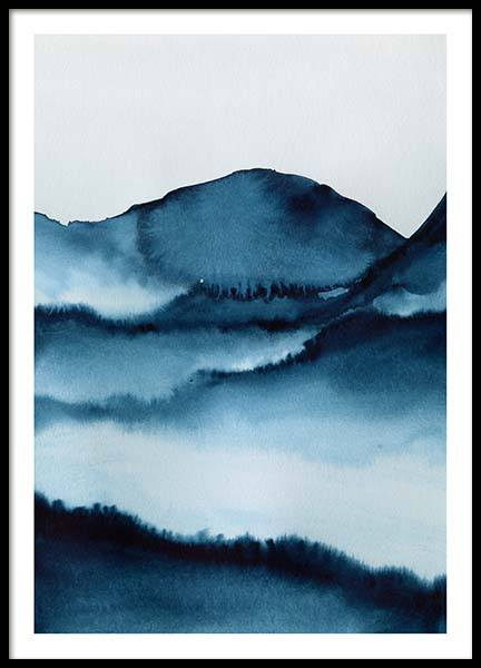 Watercolor Mountains Poster no grupo Posters  / Arte em Desenio AB (10124)