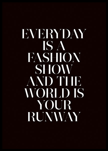 The World is Your Runway Poster no grupo Posters  / Posters com texto em Desenio AB (11139)