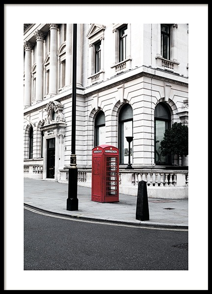 Red Telephone Box Poster no grupo Posters  / Studio Collections / Studio Cosmopolitan / London em Desenio AB (11362)