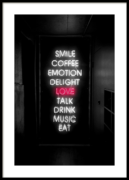 Smile Love Eat Neon Poster no grupo Posters  / Posters com texto em Desenio AB (12441)