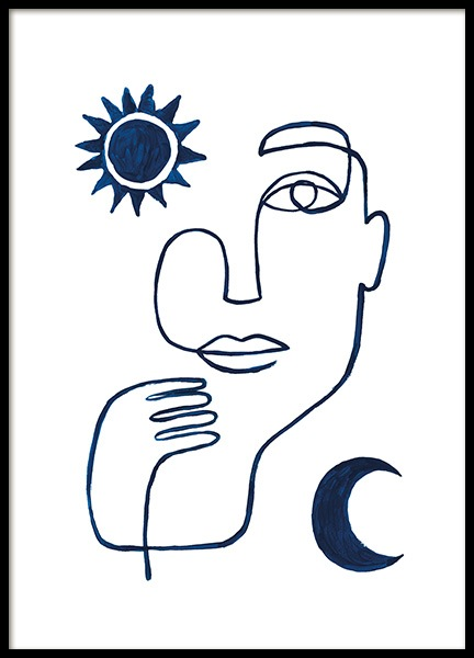 Abstract Face in Blue Poster no grupo Posters  / Arte / Arte minimalista em Desenio AB (13664)