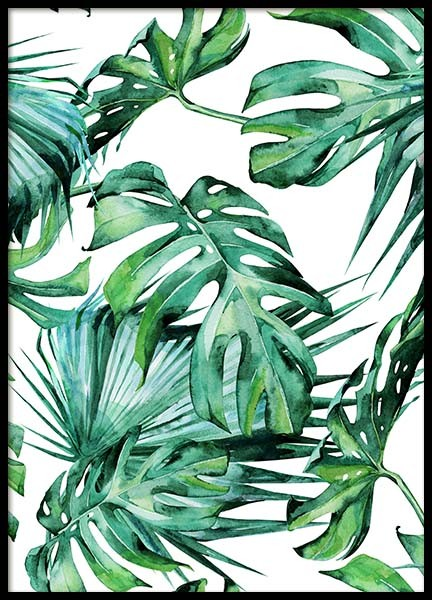 Tropical Leaves Pattern Poster no grupo Posters  / Arte em Desenio AB (2287)