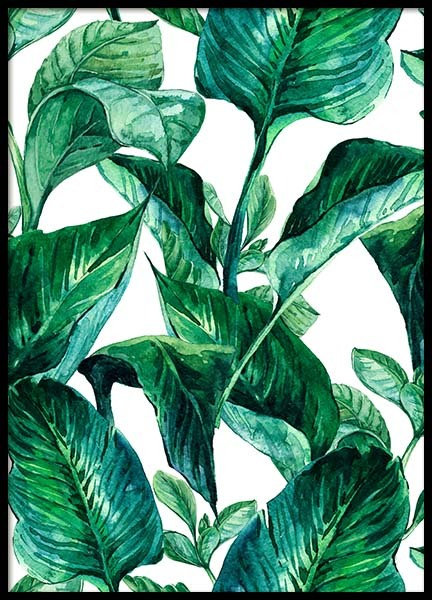 Green Leaves Pattern Poster no grupo Posters  / Arte em Desenio AB (2288)