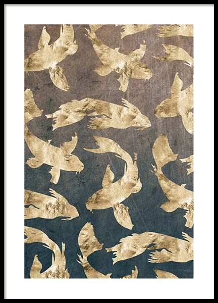 Golden Fishes Pattern Poster no grupo Posters  / Graficamente em Desenio AB (3183)