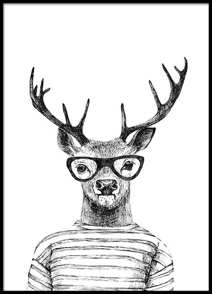 Deer With Glasses Poster no grupo Posters  / Preto e branco em Desenio AB (8181)