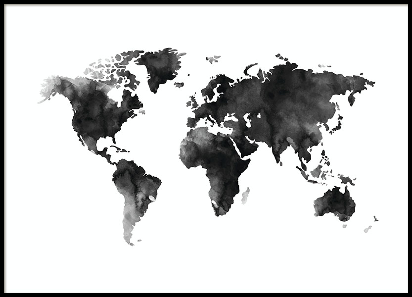 World Map Watercolor Poster no grupo Posters  / Preto e branco em Desenio AB (8451)