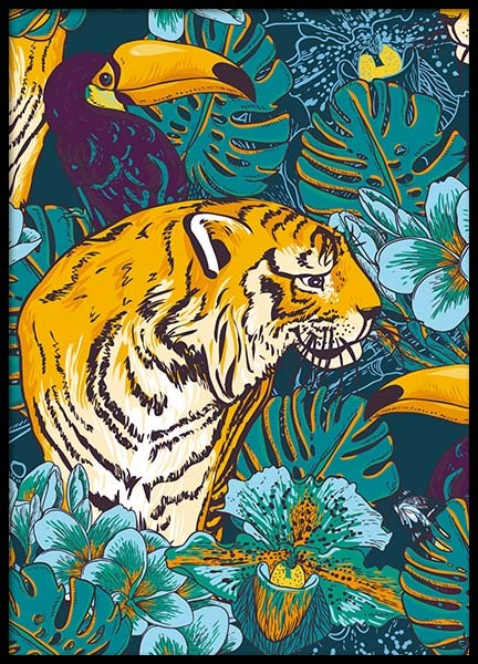 Tiger In Paradise Poster no grupo Posters  / Arte em Desenio AB (8778)