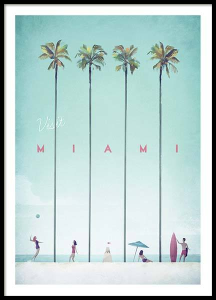 Miami Travel Poster no grupo Posters  / Handpicked / Henry Rivers em Desenio AB (pre0010)