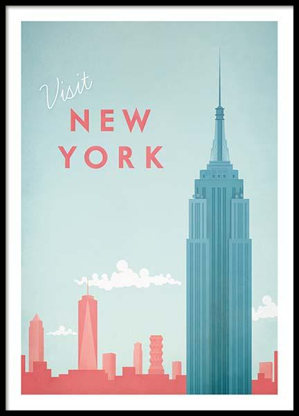New York Travel Poster no grupo Posters  / Handpicked / Henry Rivers em Desenio AB (pre0011)