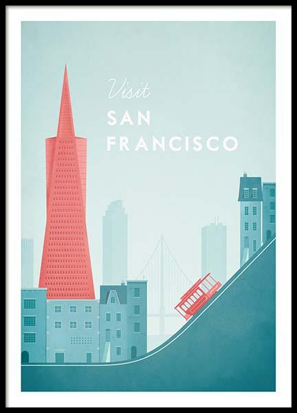 San Francisco Travel Poster no grupo Posters  / Handpicked / Henry Rivers em Desenio AB (pre0014)