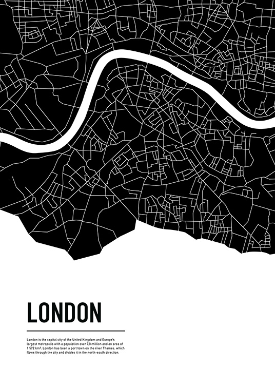 Graphic City Map London Poster / Mapas e cidades em Desenio AB (11936)