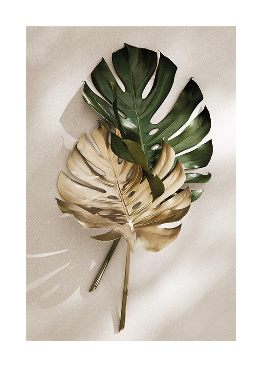 Gold Monstera No1 Poster / Costelas-de-adão em Desenio AB (13667)