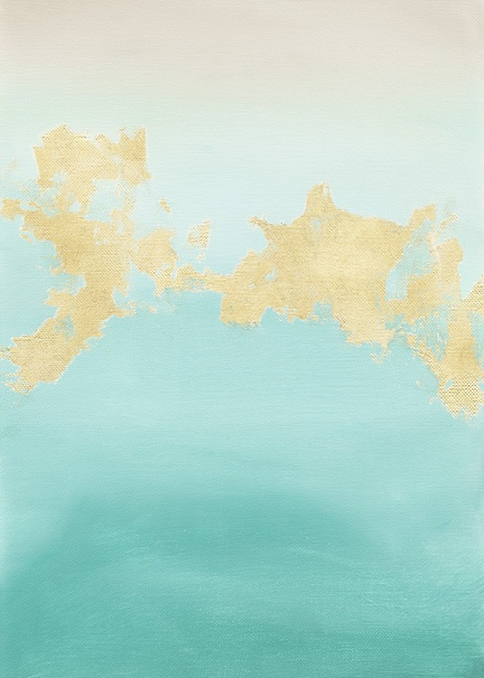 Gold and Turquoise Poster / Arte abstrata em Desenio AB (13844)