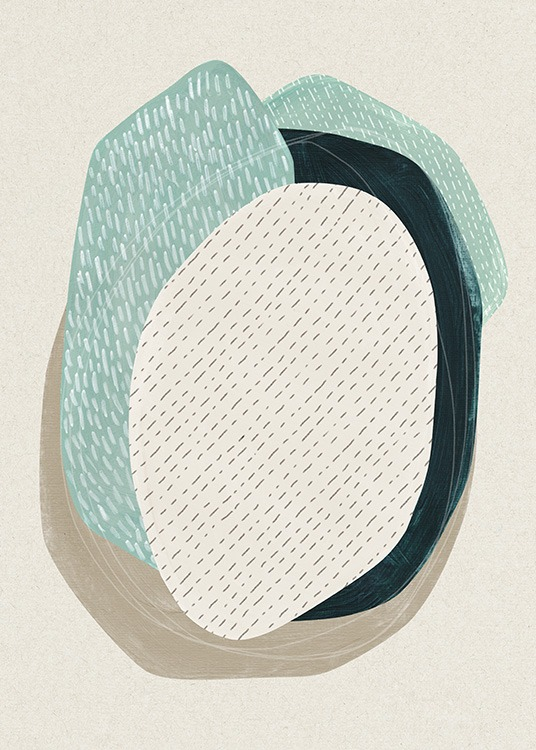 Oval Composition No1 Poster / Arte abstrata em Desenio AB (13845)