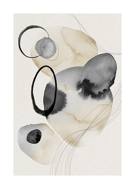 Watercolor Circles No2 Poster / Arte abstrata em Desenio AB (13848)